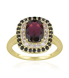 Designs by FMC 18k Gold Over Sterling Silver Garnet, Smokey Quartz and White Topaz Ring