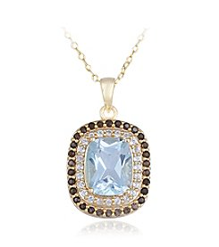 Designs by FMC 18k Gold Over Sterling Silver Blue Topaz, Smokey Quartz and White Topaz Pendant Necklace, 18