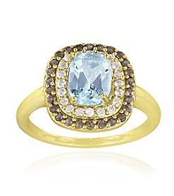 Designs by FMC 18k Gold Over Sterling Silver Blue Topaz, Smokey Quartz and White Topaz Ring