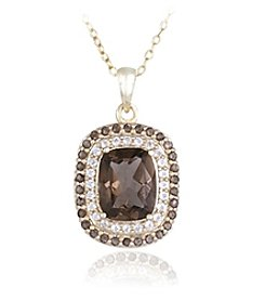 Designs by FMC 18k Gold Over Sterling Silver Smokey Quartz and White Topaz Pendant Necklace, 18