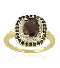 Designs by FMC 18k Gold Over Sterling Silver Smokey Quartz and White Topaz Ring