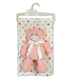 Stephan Baby Multi-Dot Blanket and Plush Bear Set