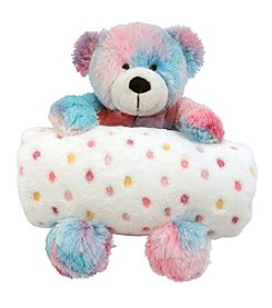 Stephan Baby Multi-Dot Blanket and Tie-Dye Bear