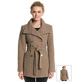 Calvin Klein Double Breasted Wool Basketweave Coat