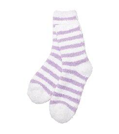 KN Karen Neuburger Scented Lounge Socks - Lavender Stripe