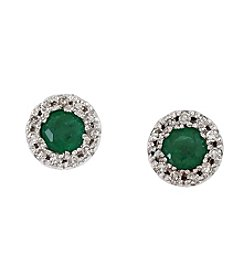 Effy® Emerald & 0.09 ct. t.w. Diamond Earrings in 14K White Gold