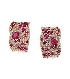 Effy® Ruby & 1.01 ct. t.w. Diamond Earrings in 14K Rose Gold
