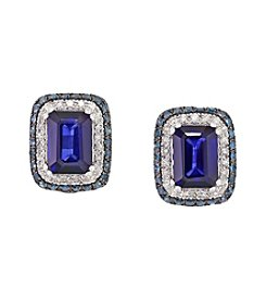 Effy® Manufactured Diffused Sapphire & 0.53 ct. t.w. Diamond Earrings in 14K White Gold