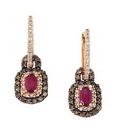 Effy® Lead Glass-Filled Ruby & 0.66 ct. t.w. Diamond Earrings in 14K Rose Gold