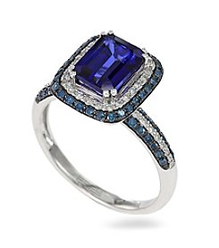 Effy® Manufactured Diffused Sapphire & 0.61 ct. t.w. Diamond Ring in 14K White Gold