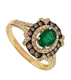 Effy® Emerald & 0.45 ct. t.w. Diamond Ring in 14K Yellow Gold