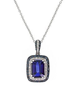 Effy® Manufactured Diffused Sapphire & 0.37 ct. t.w. Diamond Pendant Necklace in 14K White Gold