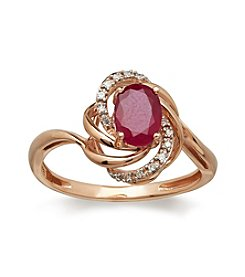 Lead Glass Filled Ruby & 0.04 ct. t.w. Diamond Ring in 10K Rose Gold