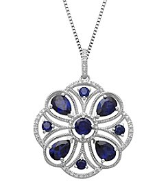 Created Blue Sapphire & 0.13 ct. t.w. Diamond Pendant in Sterling Silver