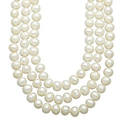 6-6.5mm Freshwater Pearl Triple Strand Necklace in Sterling Silver