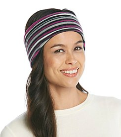 Relativity® Purple/Gray Stripe Fleece Headband