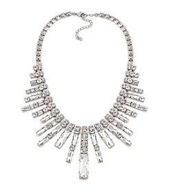 Carolee™ Silvertone Dark Star Fan Shaped Frontal Necklace