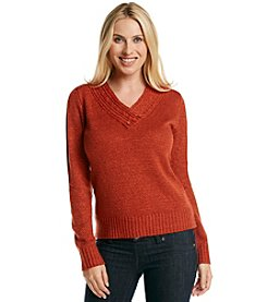 Carolyn Taylor Solid Crossover V Neck Sweater