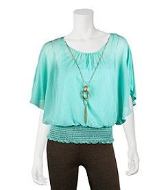 A. Byer Butterfly Sleeve Top With Necklace - Mint