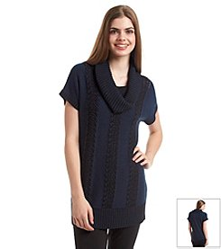 Fever™ Short Sleeve Cowlneck Tunic
