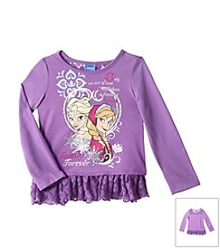 Nannette® Girls' 2T-4T Frozen Anna And Elsa Ruffle Top