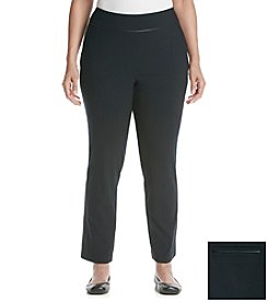 Prophecy Plus Size Pull On Piped Trim Stretch Pants