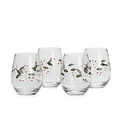 Pfaltzgraff® Winterberry Stemless Set Of 4 Wine Glasses