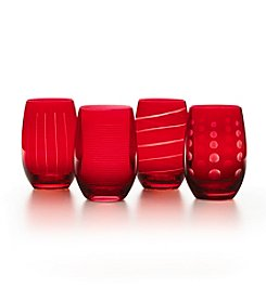 Mikasa® Cheers Holiday Ruby Set Of 4 Stemless Wine Glasses