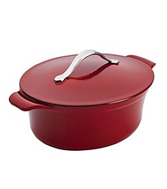 Anolon® Vesta Cast Iron Cookware 4-qt. Oval Paprika Red Covered Casserole