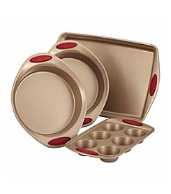 Rachael Ray® Cucina Nonstick Bakeware 4-pc. Latte Brown with Cranberry Red Handle Grips Bakeware Set