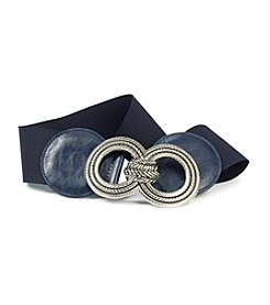 Fashion Focus Stretch Braided Buckle Belt - Navy/Silver