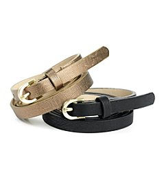 Nine West® Metallic Saffiano Smooth Belt - Black