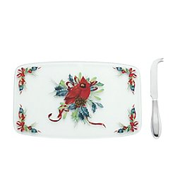 Lenox® Winter Greetings Glass Cheeseboard with Knife
