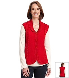 Alfred Dunner® Manhattan Skyline Boiled Wool Vest