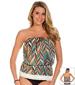 ECO SWIM® by Aqua Green® Mermaid Tails Gathered Bandeau Top
