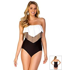 ECO SWIM® by Aqua Green® Glammed Up Layered Ruffle One Piece