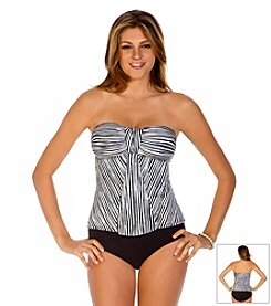 ECO SWIM® by AquaGreen® Sketch Stripe Bandeau One Piece