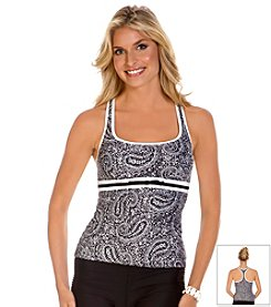 ECO SWIM® by Aqua Green® Raisley Bow Front Racerback Tankini Top