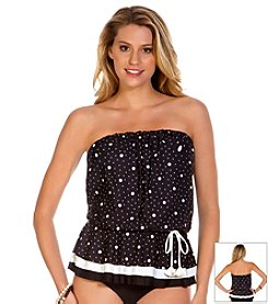 ECO SWIM® by Aqua Green® Space Dot Layered Gathered Bandeau Top