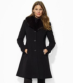 Lauren Ralph Lauren® Cashmere And Wool Blend Fit And Flare Coat