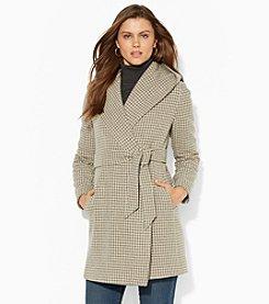 Lauren Ralph Lauren® Houndstooth Hooded Wrap Coat