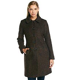 Anne Klein® Single Breasted Club Collar Wool Coat