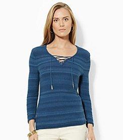 Lauren Jeans Co.® Lace-Up Cotton V-Neck Top