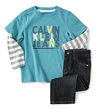 Calvin Klein Jeans® Boys' 2T-7 Striped Sleeve Top and Jeans Set