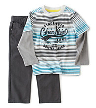 Calvin Klein Jeans® Boys' 2T-7 Striped Layered Tee and Jeans Set