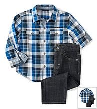 Calvin Klein Jeans® Boys' 2T-7 2-Piece Plaid Button Up Set