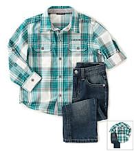 Calvin Klein Jeans® Boys' 4-7 Plaid Button Up Set
