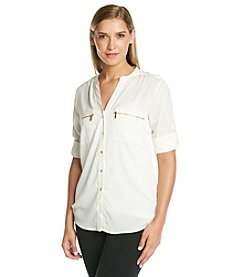 Calvin Klein Roll Sleeve Top With Zip Pockets