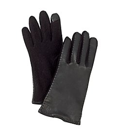 Lauren Ralph Lauren Black Cut & Sew Leather Back Touch Gloves