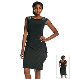 R&M Richards® Bead Shoulder Side Ruched Dress